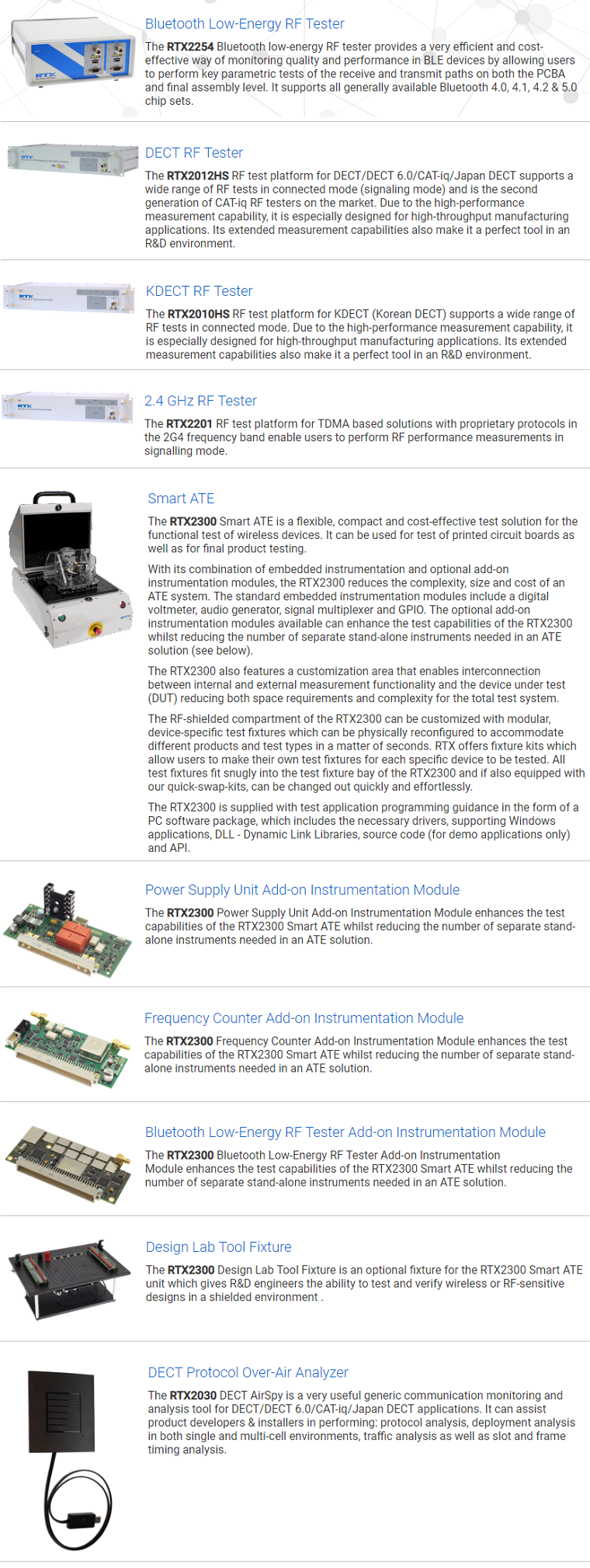ACE Solution- RTX T&M Equipment:DECT RF Testers /BLE RF Tester